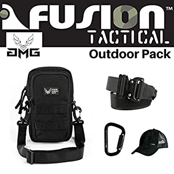 Image of AMG Outdoor Pack Black, Great Carry-On Flight Approved Travel Bag, Outdoors, and on The Go, with Belt, Carabiner and Black Cap Included Game Belts & Bags