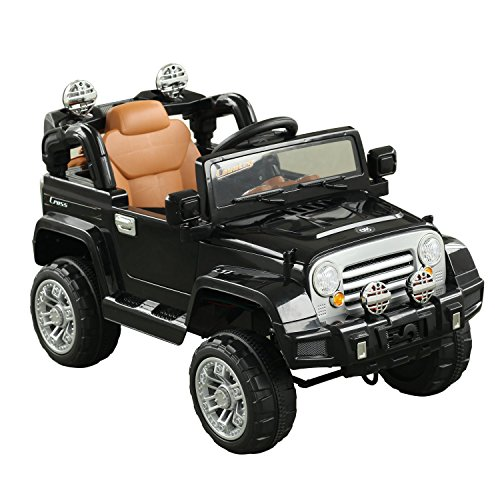 Aosom Off-Road Battery-Powered Truck with MP3 Connection, Working Horn, Steering Wheel, and Remote Control for The Ultimate Realistic Simulated Driving Experience, Dual 6V Motor, Black