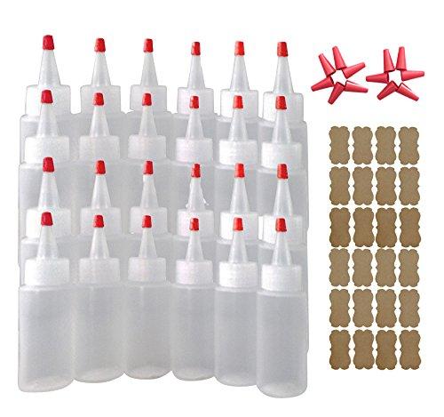 SanDaveVA Brand 24 2oz Versatile Plastic Highly Squeezable LDPE Bottles w/Yorker Caps Kraft Labels & 12 Long Replacement Caps Cake Decorating Condiment Paint Glue
