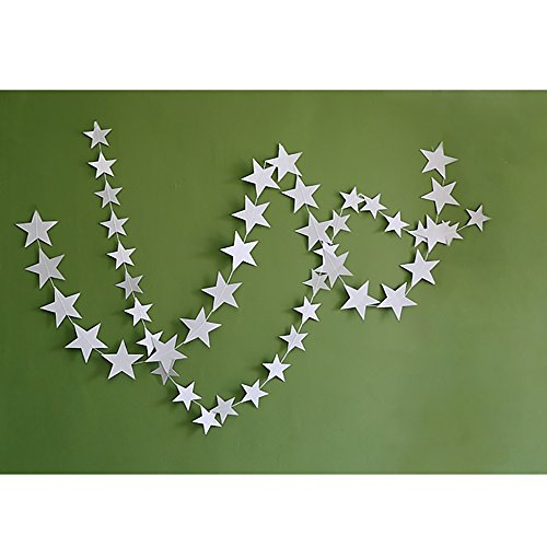 Gold Glittery Star Garland Decoration 4 Meters Shiny And Sparkling Long Party Background Decor. Great For Christmas, Weddings, Birthday Parties, Bridal Showers, Holidays (M,Silver) - Happy Hours