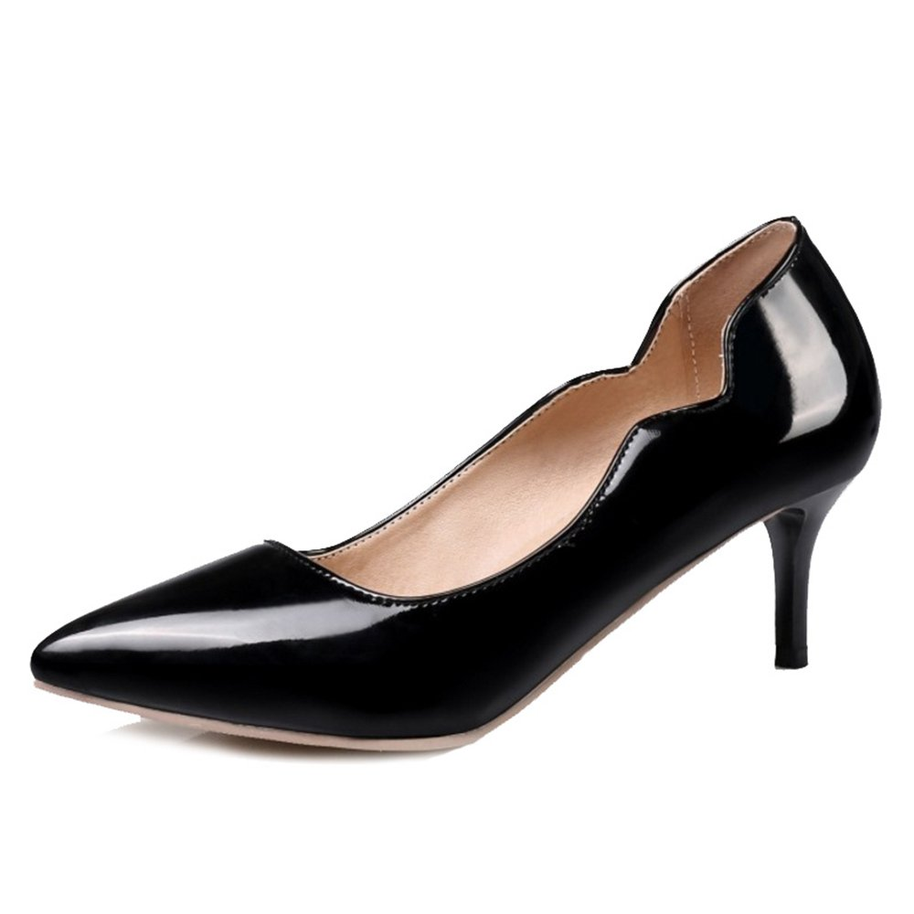 Smilice Women Plus Size US 0-13 Mid Heel Pointy Toe New Dress Pumps 6 Colors Available New B074RFXRV8 32 EU = US 2 = 21 CM|Black 2
