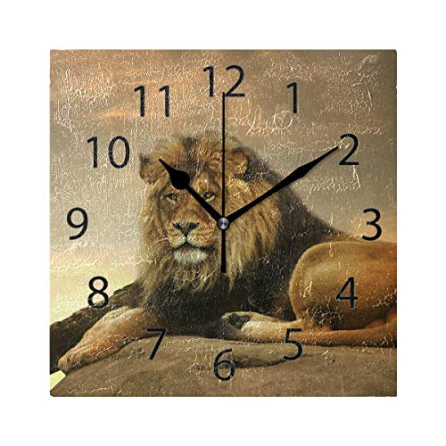 YATELI Wall Clock Shelf Square 8x8 Inches African Animal Lion King Stone Sitting Sunset Silent Decorative for Home Office Bedroom