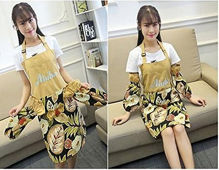 Amazon.com: el delantal/ ropa de trabajo adulto en la cocina/Agua y aceite a prueba de dibujo manga bordada palabra-N: Kitchen & Dining