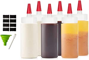6-pack Premium Condiment Squeeze Bottles for Sauces, Paint ,Oil, Condiments ,Salad Dressings, Arts and Crafts - BPA Free- Food Grade-Includes Funnel, Erasable Marker and Reusable Labels (4 oz)