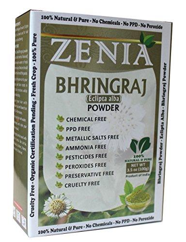100g Zenia Bhringraj Powder Box 100% Natural No Mineral OIl
