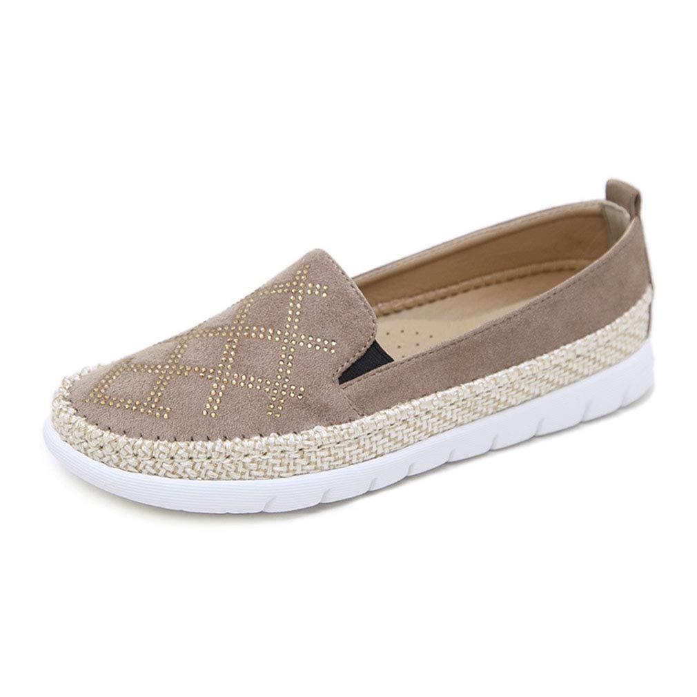 YAN Frauen Casual schuhe Neue 2019 Suede Loafers & Slip-Ons Rhinestone Hanf Rope Schuhe Fashion Deck Schuhe Beige schwarz rot Beige 37