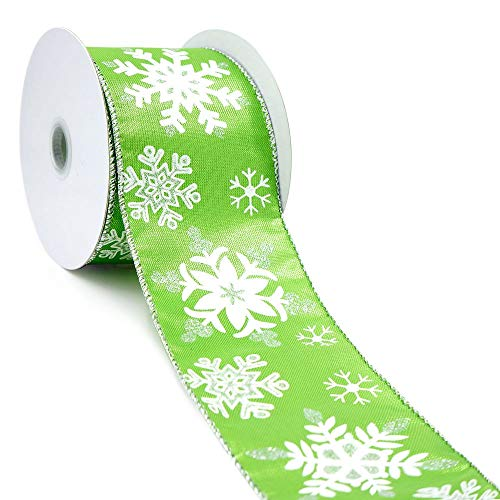 CT CRAFT LLC Lime Green Metallic Fabric with White/Silver Snowflake Wired Ribbon - 2.5 Inch x 10 Yards x 1 Roll ()