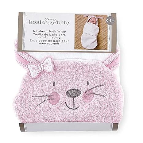 Amazon.com : Koala Baby Girls B is for Bunny Pink/White Bath Swaddle : Baby