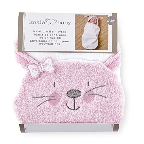 Koala Baby Girls B is for Bunny Pink/White Bath Swaddle