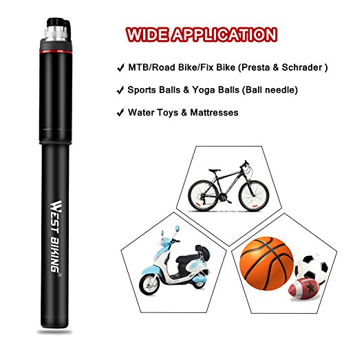 WESTGIRL Cycling Pump with Gauge, Portable Mini Bike Pump - Fits Presta Schrader - Accurate Inflation - High Pressure 150 PSI for Road Mountain BMX Bicycle Tire Pump, Includes Free Repair Gift by WESTGIRL (Image #6)