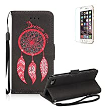 iPhone 6S Case.iPhone 6 Wallet Case .Funyye Retro Emboss Fashion Dream Catcher PU Leder Wallet with Card Holder Slots Stand Protective Case for iPhone 6/6S (4.7 Inch) -Black
