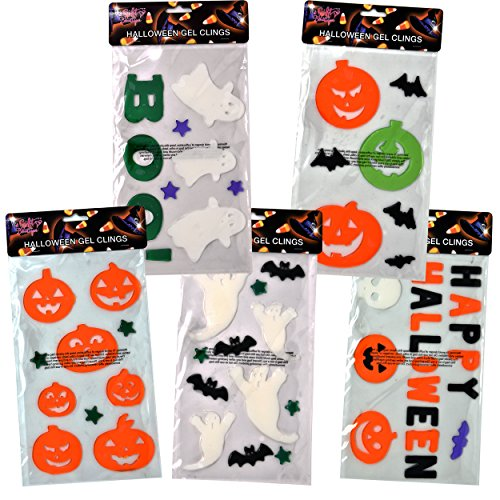 5 Pack Halloween Window Gel Clings Decals includes Happy Halloween Ghosts Boo Pumpkins Haunted House Bat Tombstone Skull Decorations Accessories by Gift Boutique