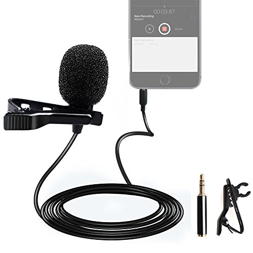 MAONO AU-402 Lavalier Microphone Handsfree Clip on Interview Vocal Recording Lapel Mic for DSLR Camera, Voice Amplifier, iPhone, Android, Smartphone, Wireless Transmitter, PS4, YouTube Live