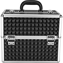 Hiker PT4001 3-Tiers Accordion Trays Professional Makeup Train Case Portable Cosmetic Jewelry Box Organizer with Large Center Compartment, 3D Diamond