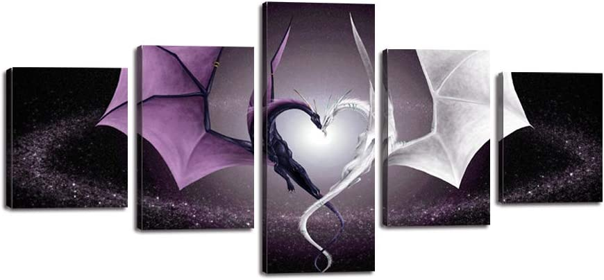 Creative Heart Shaped Dragon 5 Piece Canvas Wall Art Decor Fantasy Wild Animals Picture Prints Dragon Love Poster Painting Decorations for Bedroom Living Room Office Framed Ready to Hang (50''Wx24''H)