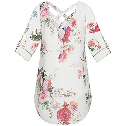 V mousseline shirts Zipper soie Blouse Tefamore Tops Tunique Blanc de Loose Casual Flora T Neck Imprimer ❤️Femmes zqwn0pXEX