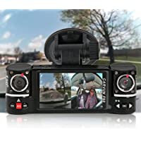 inDigi NEW! 2.7 TFT LCD Dual Camera Rotated Lens Car Security Camera Recorder Night Vision Dash Cam