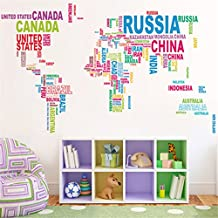 Zebratown Colorful Letters World Map Wall Stickers Living Room Home Decorations Creative Pvc Decal Mural Art DIY Office Wall Art