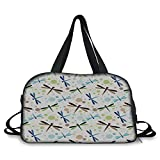 iPrint Travelling bag,Dragonfly,Colorful Toned Flying Dragonflies Pattern with Bubbles and Circular Shapes Print Decorative,Multicolor ,Personalized