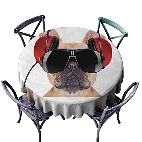 Georgia Bulldogs Headphone - HCCJLCKS Polyester Tablecloth Popstar Party Dj Bulldog with Headphones Listening to Music Behind White Banner Washable Tablecloth D59 Pale Brown Black Red