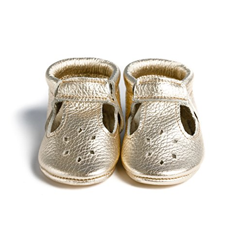 LittleBeMocs T-Strap Baby Moccasins (Italian Leather) Soft Sole Shoes for Boys and Girls | Infants, Babies, Toddlers Gold ()