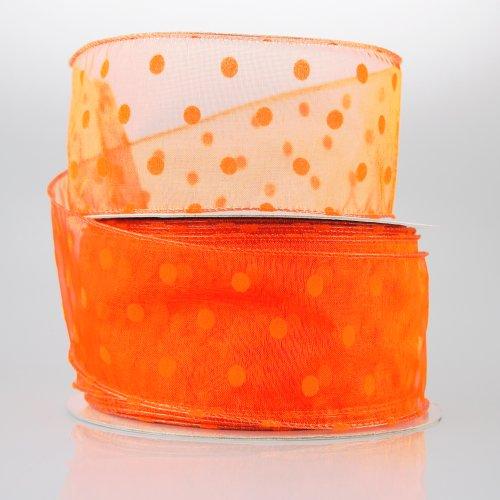 Organza Polka Dots Wired Ribbon, 50-yard, 2-inch (Orange)