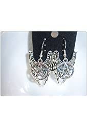 Wings Earrings Pentagram Earrings Castiel Earrings Fallen Angel Earrings Supernatural Earrings