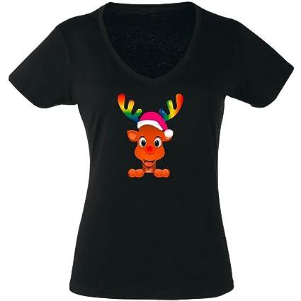 T-Shirt Weihnachten 01os - Damen - Rudolf - Rentier - Rainbow Collection -  Regenbogen: Amazon.de: Bekleidung