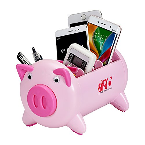 T O K G O - Creative Pigs Plastic Office Desktop Stationery Pencil Holder Makeup Pen holder Cell Phone Remote Control Storage Box Organizer with 4 Adjustable Spaces