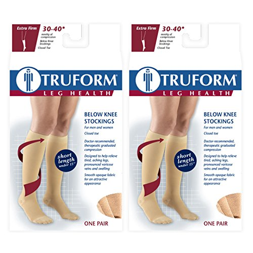 Truform Compression 30-40 mmHg Knee High Stockings Beige, Medium - Short, 2 Count ()