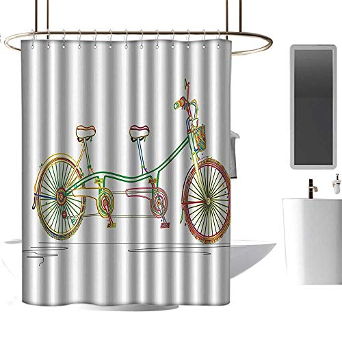 homehot Shower Curtains for Bathroom Blue Decorative,Colorful Tandem Bicycle Design on White Background Pattern Clipart Style Print,Multicolor,W72 x L96,Shower Curtain for Girls ()