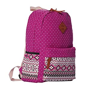 Veenajo Casual Lightweight Cute Dot Canvas Laptop Bag Shoulder Bag School Backpack (Rose Red)