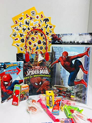 Happy DIY Easter Birthday Baskets Kids Girls Girl Toddlers Gift Egg Eggs Toddler Gifts Themed Set Artificial Grass Decorations Toys Stuffers Bag Package Party Favors Spiderman Spider-Man Spider - Halloween Bucket Spiderman