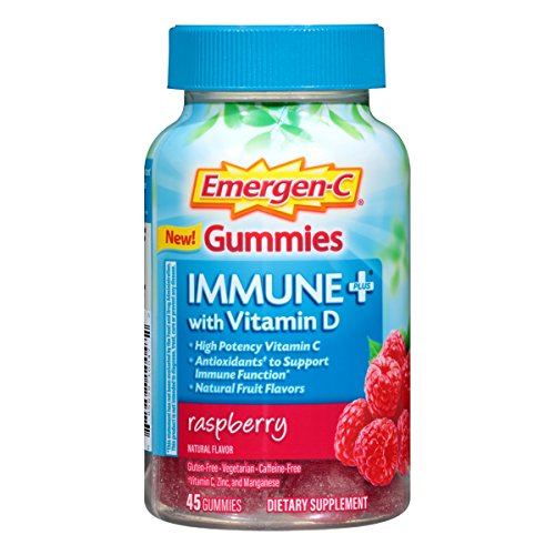 Emergen-C Immune+ Gummies (45 Count, Raspberry Flavor) Immune System Support with 500mg Vitamin C Dietary Supplement, Caffeine Free, Gluten Free