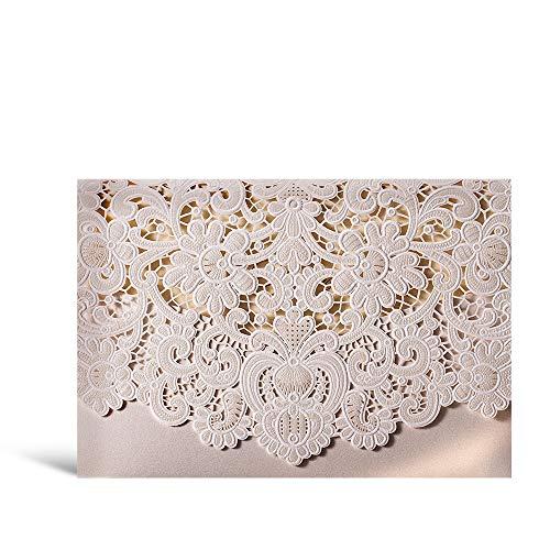 1 WISHMADE White Ivory Laser Cut Wedding Invites, Printable Blank Invitation Pocket with Envelope, for Engagement Bridal Shower Wedding (Do It Yourself Wedding Invitations)