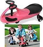EliteZotec® Pink Swing Car Ride On Swivel Scooter Wiggle Gyro Twist & Go Kids Ride-on Car Push Stunt Sport Customs Drift