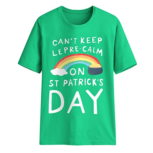 Gnpolo Unisex St Patricks Day Shirt Womens Funny Casual Short Sleeve T Shirt Mens Tee Tops