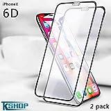 Apple iPhone X original Screen Protector, KSHOP Profession 6D Screen Protector for Apple iPhone X/10 Phone 2018 (2-Pack)