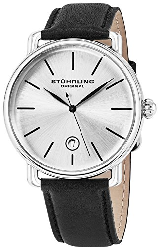Swiss Gents Watch - Stuhrling Original Ascot Mens Designer Watch - Swiss Quartz Silver Dial Date Wrist Watch for Men - Stainless Steel Analog Watch with Black Leather Strap 768.01
