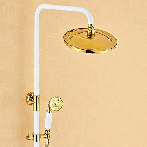 SAEKJJ-European Copper Roasting White Shower Set Shower Faucet Bathroom faucet lovely