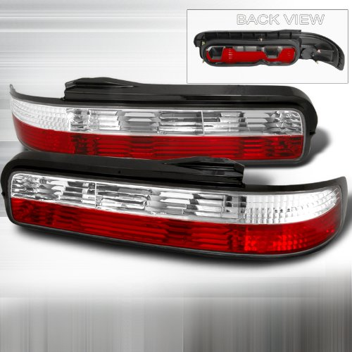 Spec-D Tuning LT-S13892RPW-TM Nissan 240Sx S13 2Dr Coupe Red/Clear Tail Lights