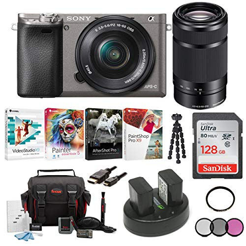 Sony Alpha a6000 Mirrorless Camera w/ 16-50mm & 55-210mm Lenses & 128GB Bundle - Graphite