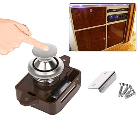 Push Button Catch Lock Cupboard Door Motorhome Cabinet Camper Caravan Latch Knob