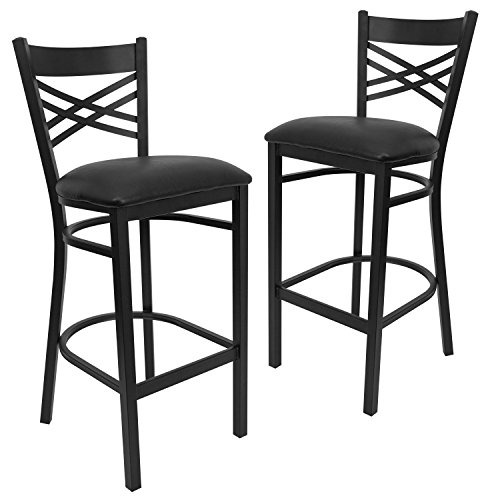 Flash Furniture 2 Pk. HERCULES Series Black X Back Metal Restaurant Barstool – Black Vinyl Seat