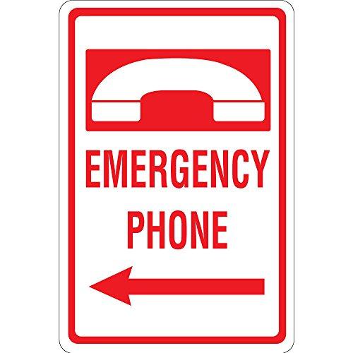 Emergency Phone with Left Arrow Vinyl Sticker Decal 8