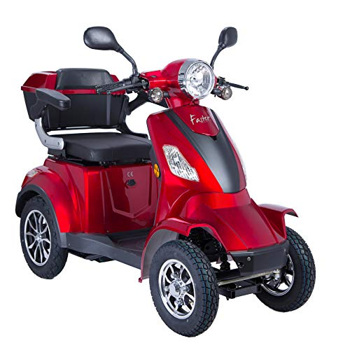 4 Wheel Electric Mobility Scooter/Travel e-Scooter 1000W USB Charger, Bottle Holder ... (Red)