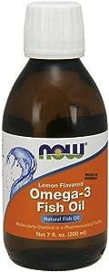 NOW Supplements, Omega-3 Fish Oil Liquid, Lemon, 7-Ounce