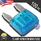 100 Pack 15 AMP APM/ATM 32V Mini Blade Style Fuses 15A Short Circuit Protection Car Fuse