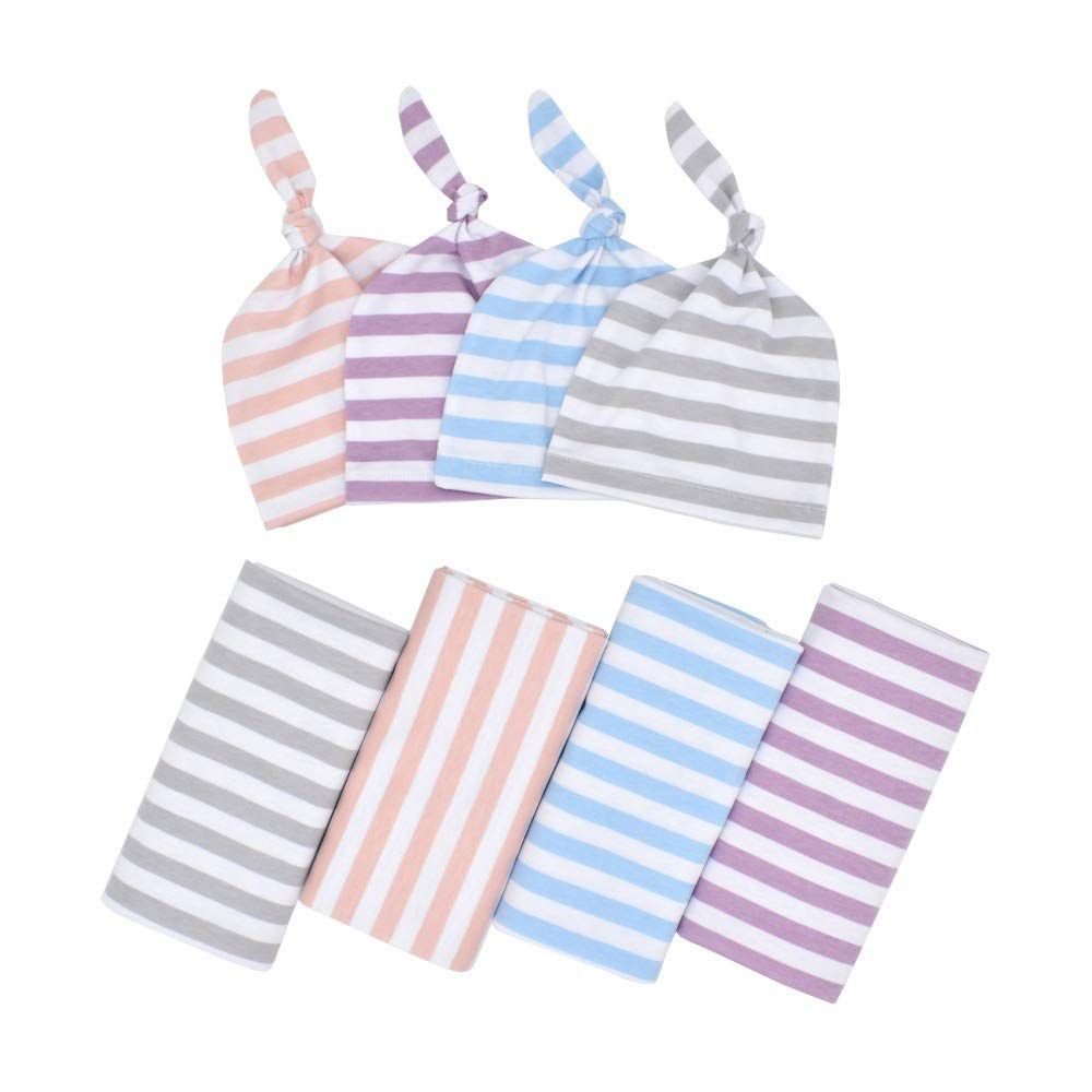 4Pack Newborn Infant Baby Striped Swaddle Blanket with Hat Baby Hospital Cotton Soft Blanket Sleeping Bag Wrap Set for Newborn Girl and Boy,Great for Home or Hospital (4Pack)