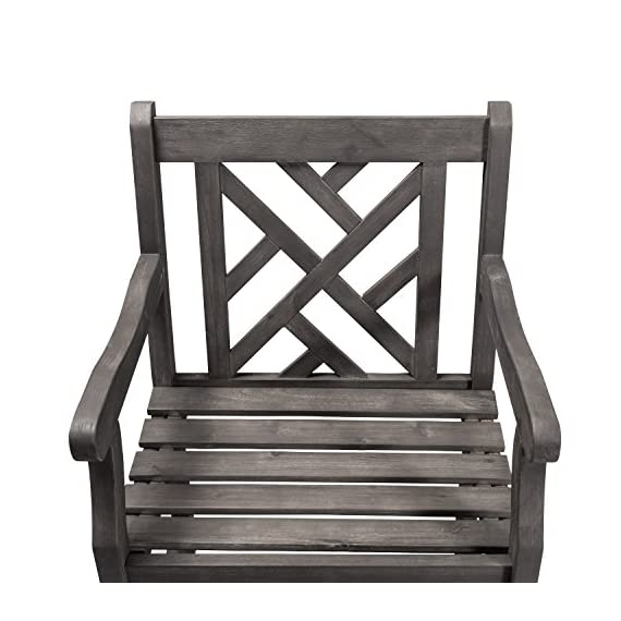 Vifah V1301 Renaissance Hand-Scraped Acacia Patterned Back Outdoor Armchair - Contoured back, contoured seat, with armrests FSC Acacia hardwood Hand-scraped Hardwood - patio-furniture, patio-chairs, patio - 51 xvEh0GhL. SS570  -